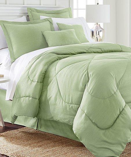 Green Chevron Six Piece Comforter Set, Light Green Quilt Bedding