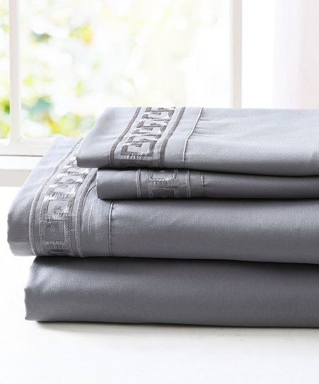 Spirit Linen Home Dark Gray Greek Key Embroidery Microfiber Sheet Set