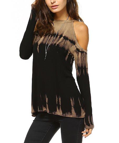c009952c2e3dd love this product Black   Mocha Tie-Dye Off-Shoulder Top - Women
