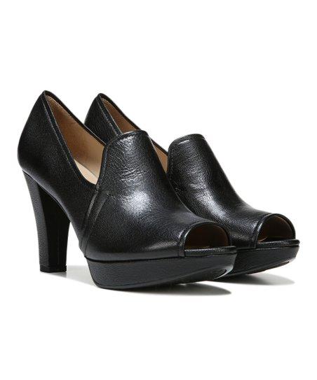 Black Kaneli Leather Peep-Toe Pump