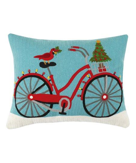 Peking Handicraft Blue   Red Christmas Bike Throw Pillow  3ce869b9a9