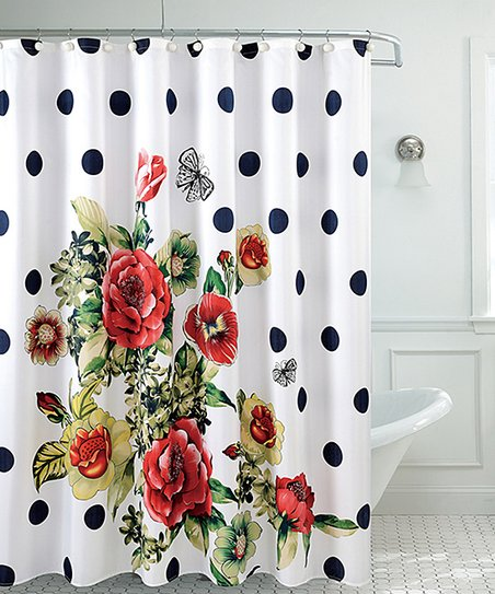 Love This Product White Red Floral Shower Curtain