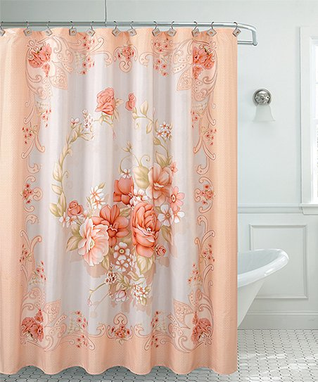 Love This Product Peach White Floral Shower Curtain