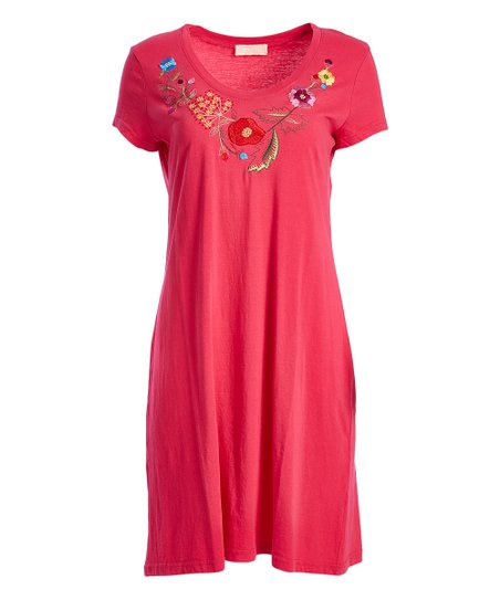 6e0664d3fc9a love this product Raspberry Floral Embroidery V-Neck Sleep Dress - Plus Too