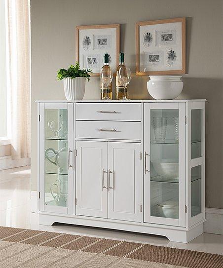 Pilaster Designs White Wood & Glass Kitchen Cabinet
