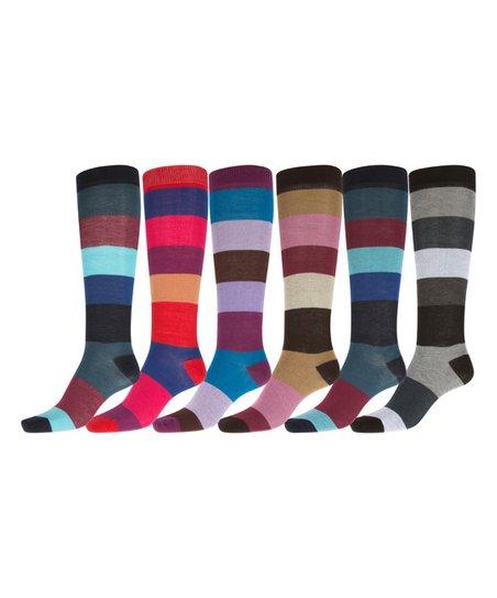 Black & Pink Broad Stripes Knee-High Six-Pair Socks Set