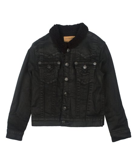 True Religion Black Faux Fur Trim Denim Jacket Boys Zulily