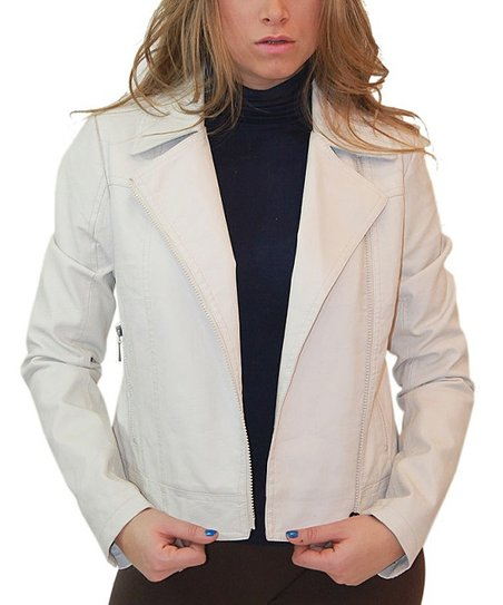 5219d5505860 love this product Off White Faux Leather Moto Jacket