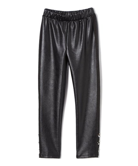 ef88f1426fbba Baby Sara Black Faux Leather Leggings - Infant, Toddler & Girls | Zulily
