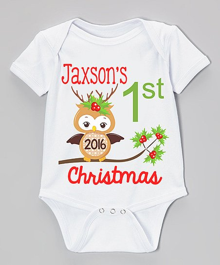 798fd5bb6 Initial Request White 1st Christmas Owl Personalized Bodysuit ...