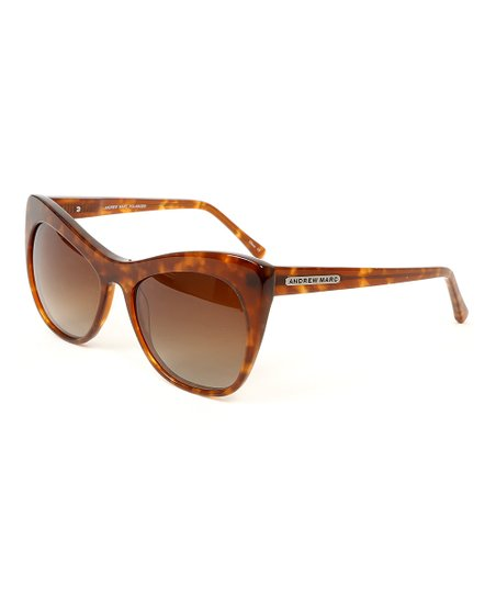 ca3b82365ce Andrew Marc Brown Tortoise Extreme Cat-Eye Polarized Sunglasses