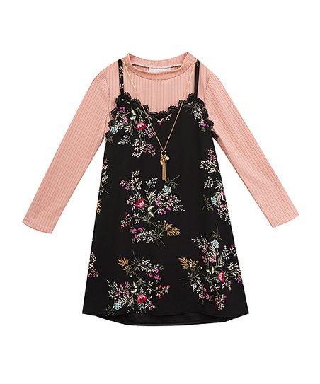 d4e094de98b8d Rare Editions Black Floral Sleeveless Dress Set - Girls | Zulily