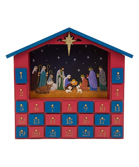 Red Blue Nativity Drawers Wooden Advent Calendar