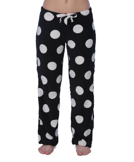Active Club Black White Polka Dot Fleece Pajama Pants Zulily