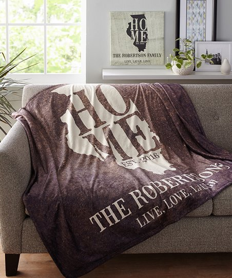 Personal Creations Brown Home Est State Personalized Blanket Zulily