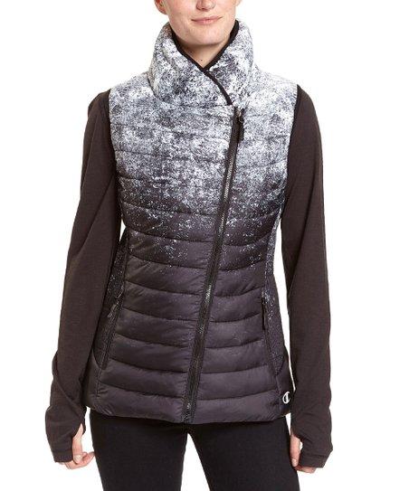 9edff20dd92 love this product Black & White Speckle Asymmetric-Zip Puffer Vest - Women  & Plus Too