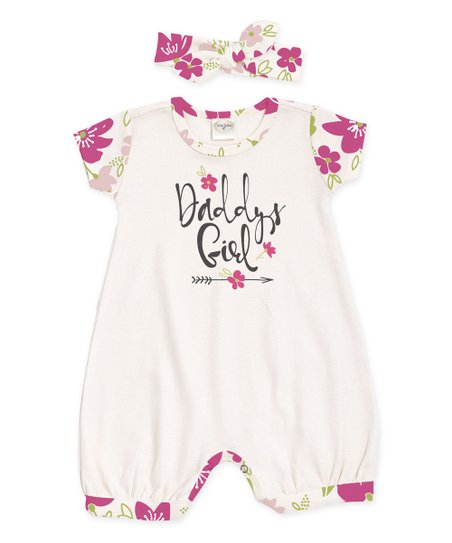 60e69d74be8b love this product Ivory Flower  Daddy s Girl  Bubble Romper   Headband -  Infant
