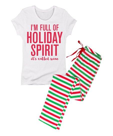 105eb41bb395 love this product White  I m Full of Holiday Spirit Wine  Pajama Set - Women