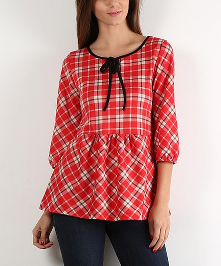 30a51c57491c5e J-Mode USA Los Angeles Red Plaid Tie-Front Peplum Top - Plus