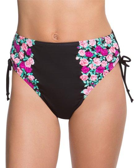 214a92b683 Betsey Johnson® Black Ballerina Rose High-Waist Bikini Bottoms ...