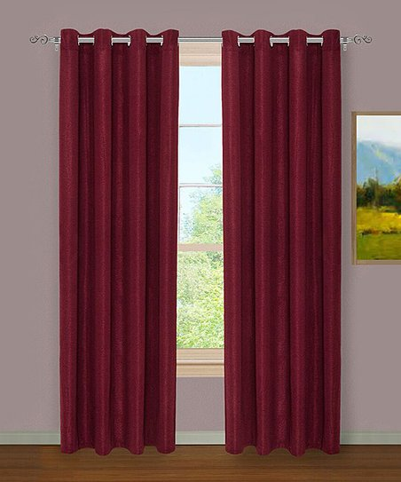 Burgundy Crinkle Curtain Panel Set Of Two