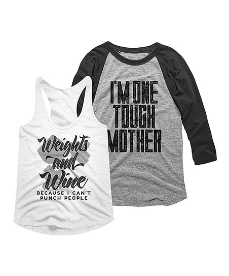 262844ffcefd love this product White & Vintage Smoke 'Tough Mother' Tee Set - Women