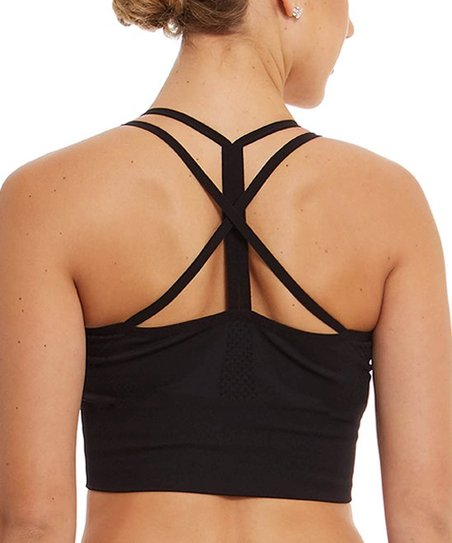 c53cf4452a Sweet Romeo Active Black Seamless Strappy-Back Compression Sports ...