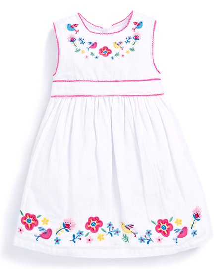 a5c5c8b78d06 JoJo Maman Bébé White   Pink Floral Embroidered Dress - Infant ...