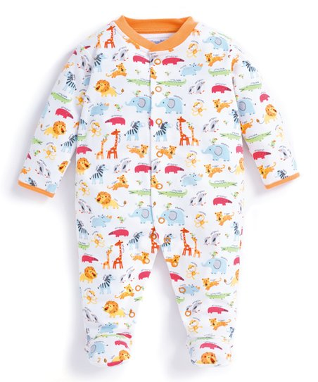 ae9f4a8c3435 JoJo Maman Bébé White   Orange Safari Footie - Newborn   Infant