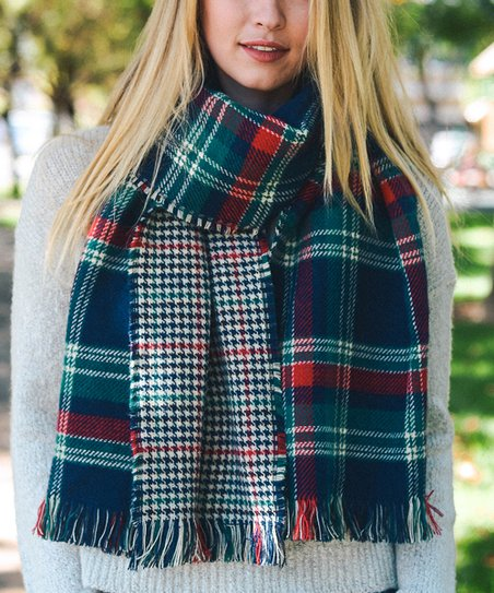 b9d73e099d5eb Leto Collection Navy & Green Plaid Blanket Scarf - Women   Zulily