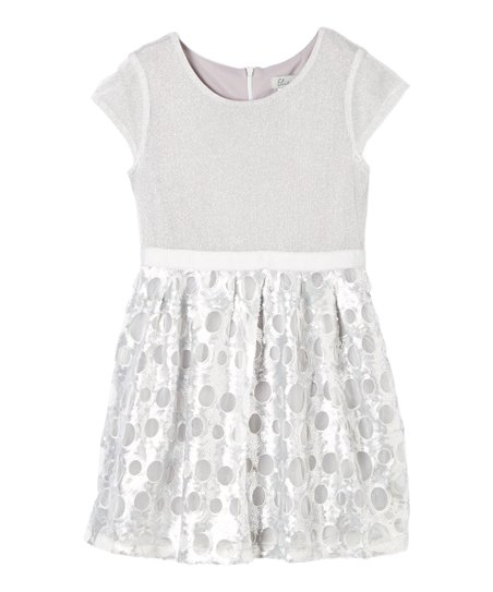 3bc84cc0 love this product Silver Sequin-Skirted Cap-Sleeve Dress - Girls
