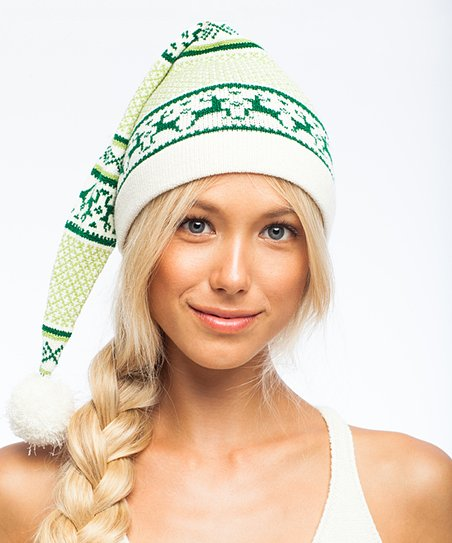 a534d14fb2b Knitty Kitty Green   Cream Reindeer Pom-Pom Beanie