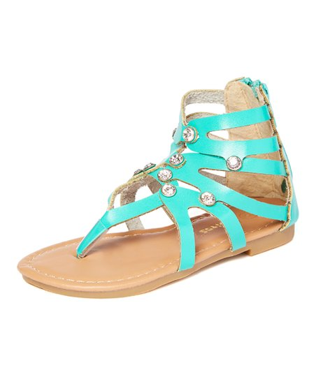 a1733b02a1b21 love this product Teal Rhinestone Gladiator Sandal - Girls