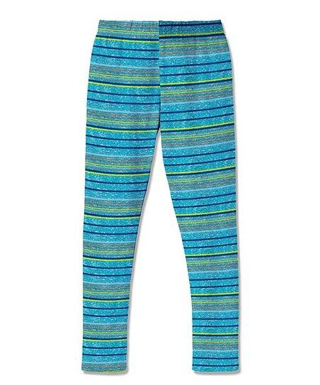 aab47dfc641a1 Sunshine Swing Turquoise Stripe Leggings - Girls | Zulily
