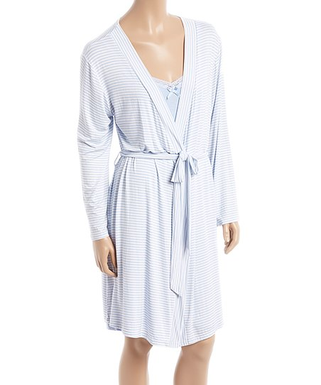 2698e38fec8ac love this product Light Blue Lace-Trim Maternity/Nursing Chemise & Robe