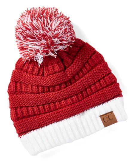love this product Red   White Knit Pom-Pom Beanie e7f9f89689b