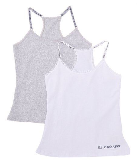 84b3ced6a5fb U.S. Polo Assn. Light Heather Gray & White Racerback Camisole Set ...
