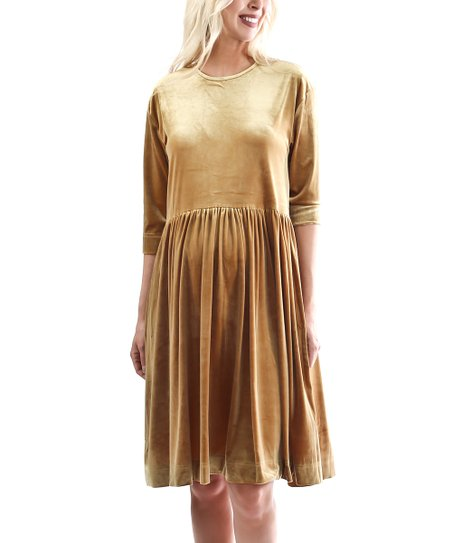 fdb76058e0b97 Madeleine Maternity Gold Ballerina Velvet Maternity Dress   Zulily