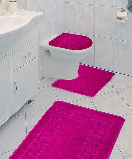 Three Piece Bathroom Rug Set, Fuchsia Bathroom Accessories