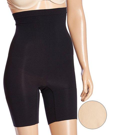 21258ffe2a67 Black & Nude Moderate Compression High-Waist Shaper Shorts Set - Women