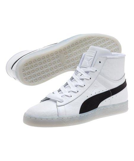 online store 7ad42 389b4 PUMA Black & White Basket Classic Mid Embossed Hi-Top Sneakers - Men