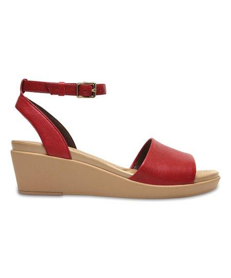 2afd1ef08218 Crocs Garnet LeighAnn Ankle-Strap Leather Wedge Sandal - Women