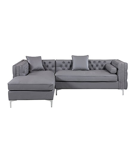 Iconic Home Gray Leather Nailhead Trim Michelangelo Left Sectional