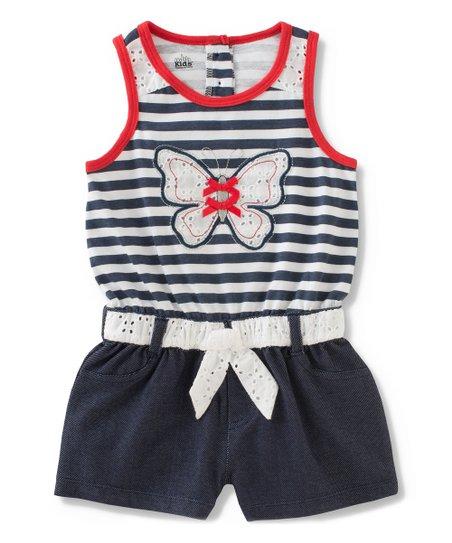 12fbbe1f88e Kids Headquarters Navy   White Stripe Butterfly Romper - Infant