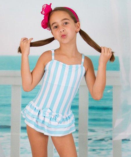 a6f85cdb001c9 Mia Belle Girls Light Blue   White Stripe Ruffle One-Piece - Girls ...