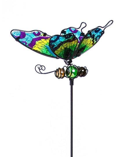 Green U0026 Yellow Glass Butterfly Garden Stake
