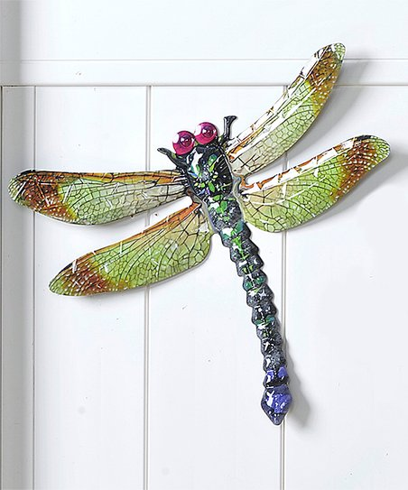Green Metal Dragonfly Wall Décor