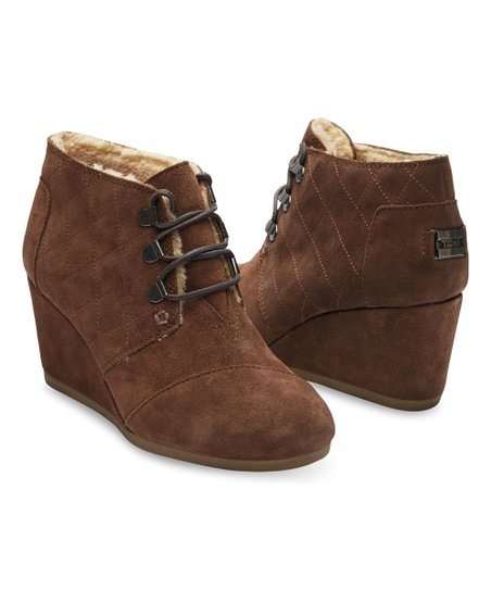41fa9694a2e TOMS Chocolate Brown Water-Resistant Suede Desert Wedge Bootie