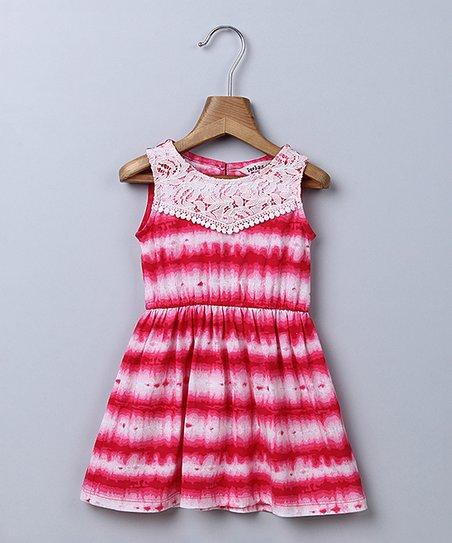 788ad4ab1 Beebay Pink Tie-Dye Lace-Accent A-Line Dress - Newborn