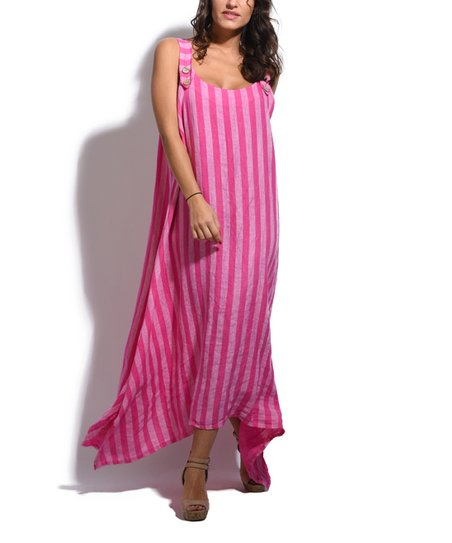 18c07ed5e08 love this product Pink Stripe Linen Sidetail Maxi Dress - Plus Too